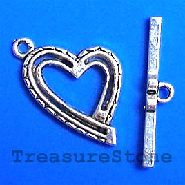 Clasp, toggle, antiqued silver-finished,16x22mm heart. Pkg of 7 - Click Image to Close