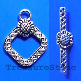 Clasp, toggle, antiqued silver-finished, 15/10mm. Pkg of 10.