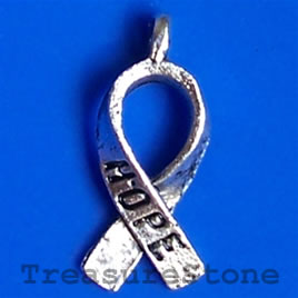 Pendant, antiqued silver-finished,7x15mm Hope. Pkg of 15.