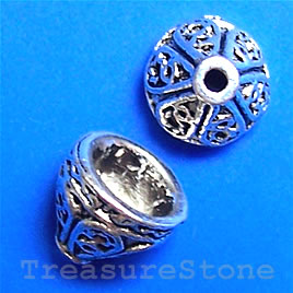 Bead cap, antiqued silver-finished, 9x8mm. Pkg of 16
