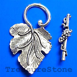 Clasp, toggle, antiqued silver-finished, 23x37mm leaf. Pkg of 3.