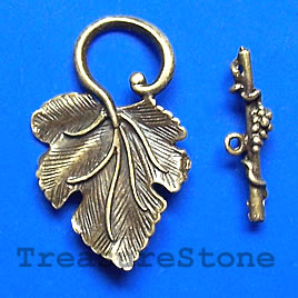 Clasp, toggle, antiqued brass-finished, 23x37mm leaf. Pkg of 3.