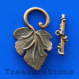 Clasp, toggle, copper-finished, 23x37mm leaf. Pkg of 3.