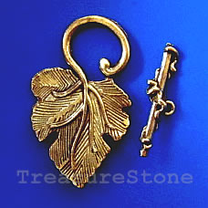 Clasp, toggle, antiqued gold-finished,37x22mm leaf. Pkg of 3.
