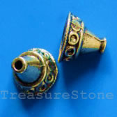 Cone, antiqued gold-finished, 14x12mm. Pkg of 4.