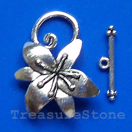 Clasp, toggle, antiqued silver-finished, 24x30mm. Pkg of 4.