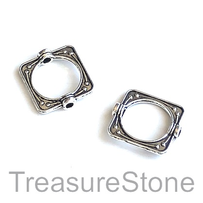 Bead frame, antiqued silver-finished, 14mm. Pkg of 12.