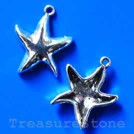 Pendant/charm, 20x24mm star. Pkg of 5.