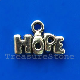 Charm/pendant, silver-plated, 6x14mm HOPE. Pkg of 15.