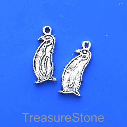 Charm, silver-finished, 8x17mm penguin. Pkg of 12