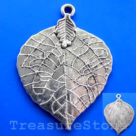 Pendant, silver-finished, 35x42mm leaf. Pkg of 2.