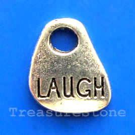 "Pendant/charm, silver-finished, 13x15mm ""Laugh"". Pkg of 15."