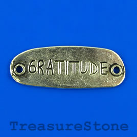 "Pendant/link, 15x40mm ""GRATITUDE"". Pkg of 2."
