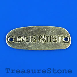 "Pendant/link,silver-finished, 15x40mm ""LOVE IS PATIENT"".Pkg of 2"