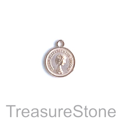 Charm, light rose gold-plated, 13mm coin. Pkg of 15.