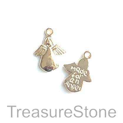 Charm/pendant, Made for an Angel, 8x14mm, light gold. Pkg of 12.