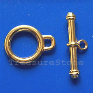 Clasp, toggle, antiqued gold-finished,15mm. Pkg of 10.