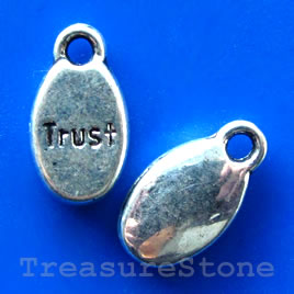 "Pendant/charm,silver-finished, 8x12mm ""Trust"". Pkg of 15."