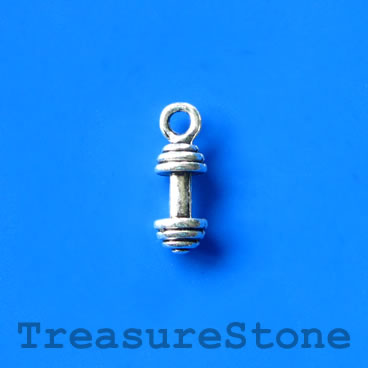 Charm/pendant, weightlifting, 7x15mm. Pkg of 6