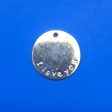 "Charm/pendant , 17mm ""I love you"". Pkg of 12."