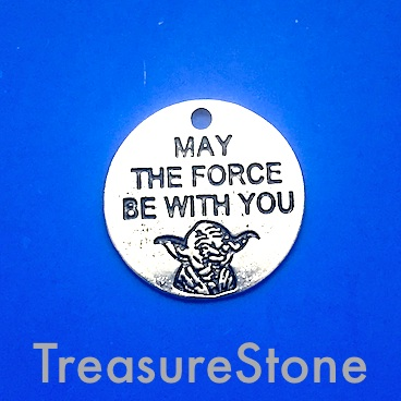 "Charm/Pendant,20mm ""MAY THE FORCE BE WITH YOU"", Star Wars. 5pcs"