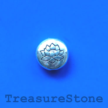 Bead, antiqued silver-finished, 14mm yoga lotus flower. Pkg of 4