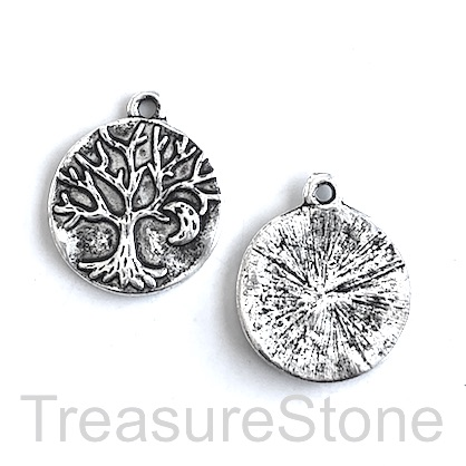 Charm, antiqued silver-finished, 20mm Tree of Life. Pkg of 6.