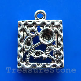 Pendant/charm, silver-finished, 17x18mm frame. Pkg of 4.