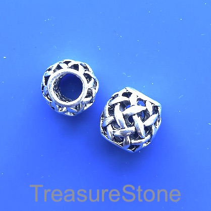 Bead, 10mm filigree drum, large hole: 4.5mm. Pkg of 4