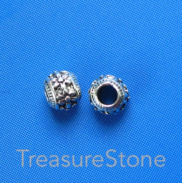 Bead, 8x10mm filigree rondelle, large hole: 4mm. Pkg of 4
