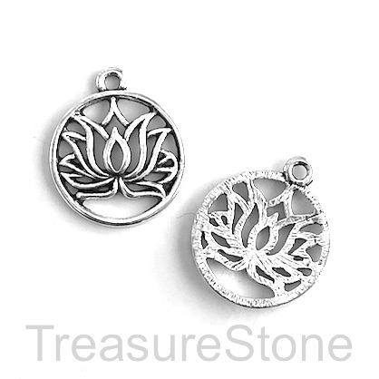 Charm, silver-colored, 19mm lotus flower. Pkg of 7.