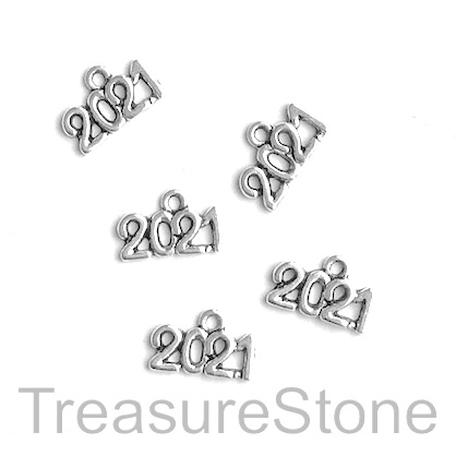 Charm, 6x13mm silver-colored 2021. Pkg of 20.