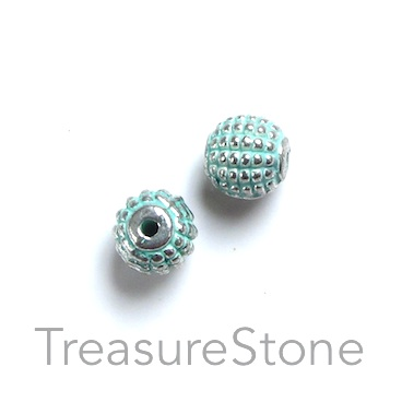 Bead, mint coloured, 7mm circle. Pkg of 10