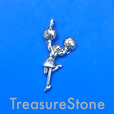 Charm / Pendant, 14x25mm cheerleader. Pkg of 12.