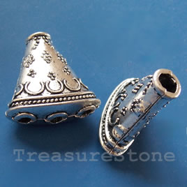 Cone, antiqued silver-finished, 24x22x11mm. Pkg of 2.