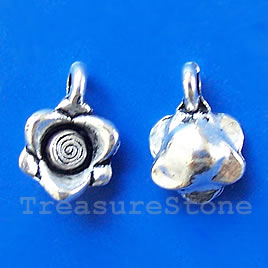 Pendant/charm,silver-finished,10x16mm flower. Pkg of 10.