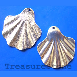 Pendant, silver-finished, 43x46mm shell. Pkg of 2.