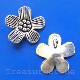 Pendant/charm, silver-finished, 22mm flower. Pkg of 4.
