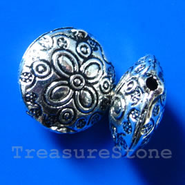 Bead, silver-finished, 19x9mm puffed round. Pkg of 4.