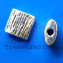 Bead, silver-finished, 8x4mm puffed square. Pkg of 15.