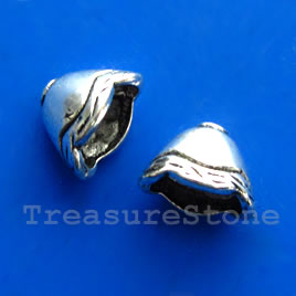 Cone, antiqued silver-finished, 8x12x9mm. Pkg of 12.