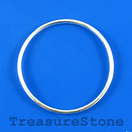 Bead, silver-finished, 38mm circle. Pkg of 6.