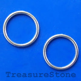 Bead, silver-finished, 18mm circle. Pkg of 15.