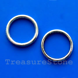 Bead, silver-finished, 16mm circle. Pkg of 15.