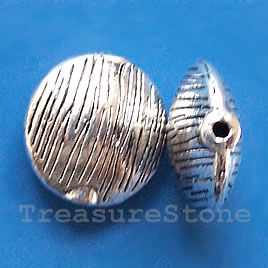 Bead, silver-finished, 17x8mm puffed round. Pkg of 3.