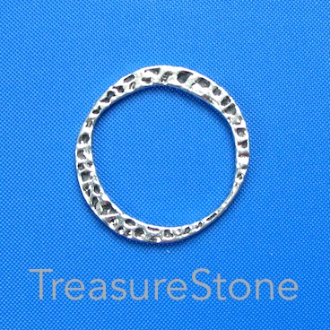Bead, antiqued silver finished, 28mm. Pkg of 5.