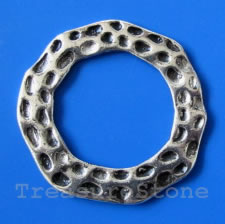 Bead, silver-finished, 47mm hammered ring. Pkg of 2.