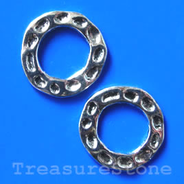 Bead, silver-finished, 24mm circle. Pkg of 4.