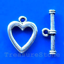 Clasp, toggle, antiqued silver-finished, 15x18mm. Pkg of 10.