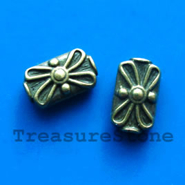 Bead, antiqued brass finished, 9x14mm. Pkg of 6.